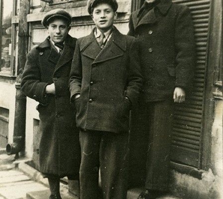 Alan (center) with two friends in 1937