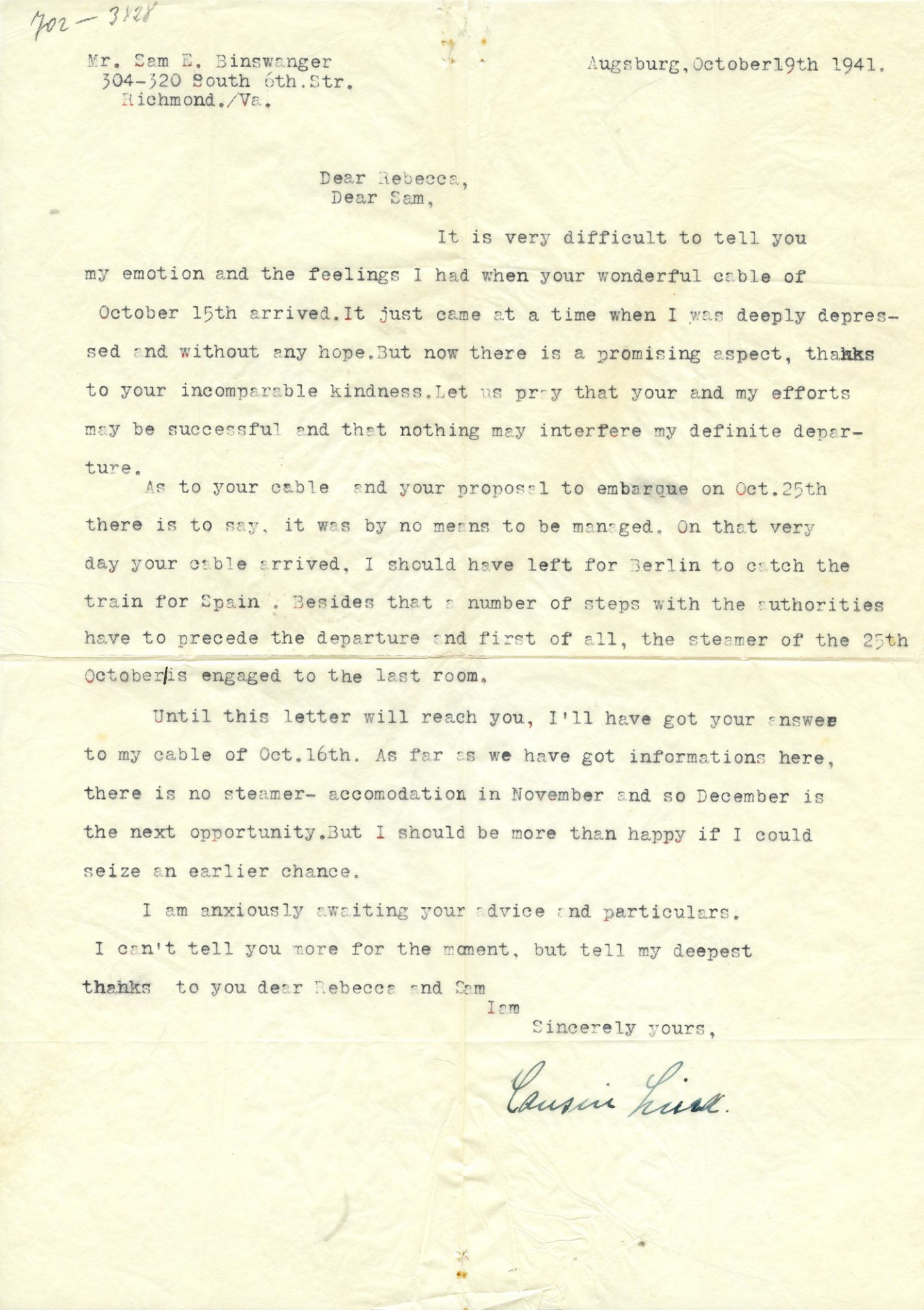 Eisenmann Letter, October 1941